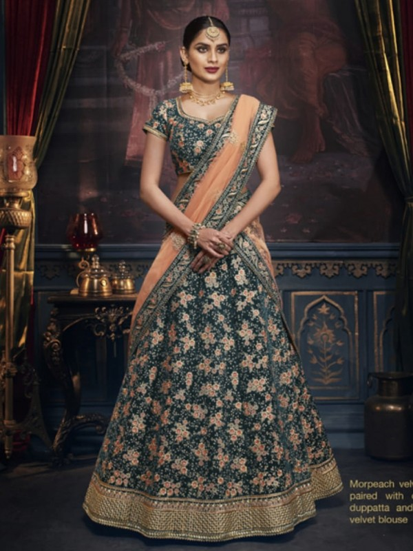Pure Micro Velvet Wedding Lehenga in Green color With Embroidery & Crystals Stone Work