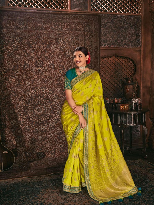 Pure Banarasi Silk Party Wear Saree In Yellow Color WIth Embroidery Work
