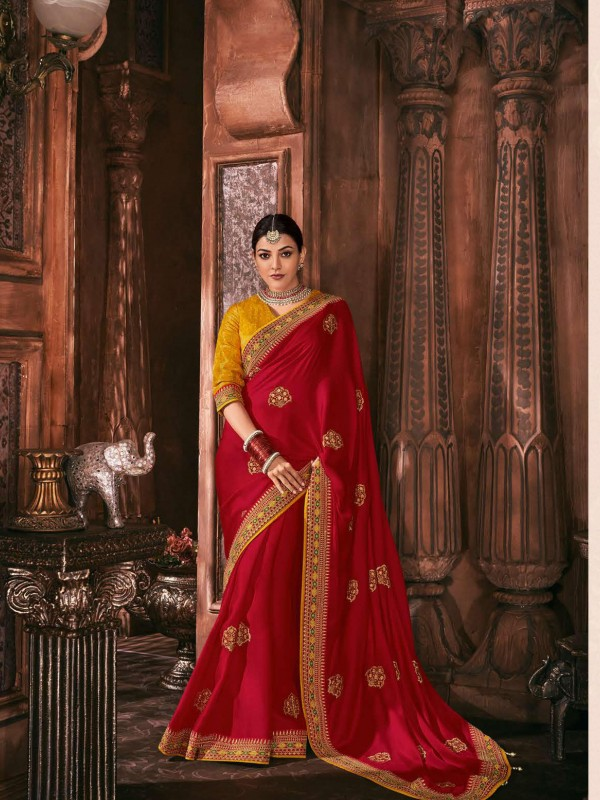 Metallic Silk Party Wear Saree In Red Color WIth Embroidery Work