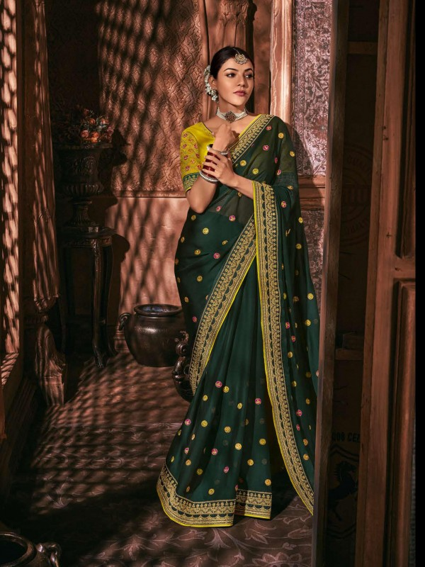Metallic Silk Party Wear Saree In Dark Green Color WIth Embroidery Work