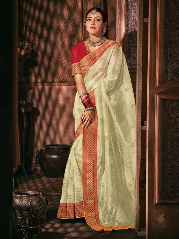 Metallic Silk Party Wear Saree In Off White Color WIth Embroidery Work