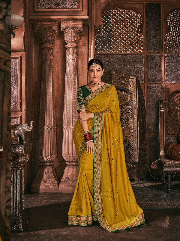 Metallic Silk Party Wear Saree In Mustard Color WIth Embroidery Work