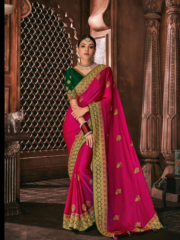 Metallic Silk Party Wear Saree In Pink Color WIth Embroidery Work