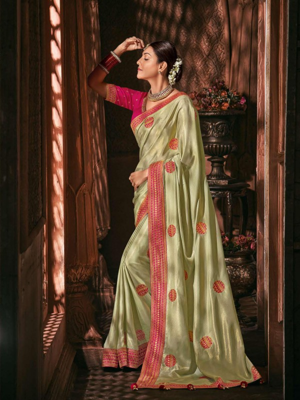 Metallic Silk Party Wear Saree In Pastel Light Green Color WIth Embroidery Work