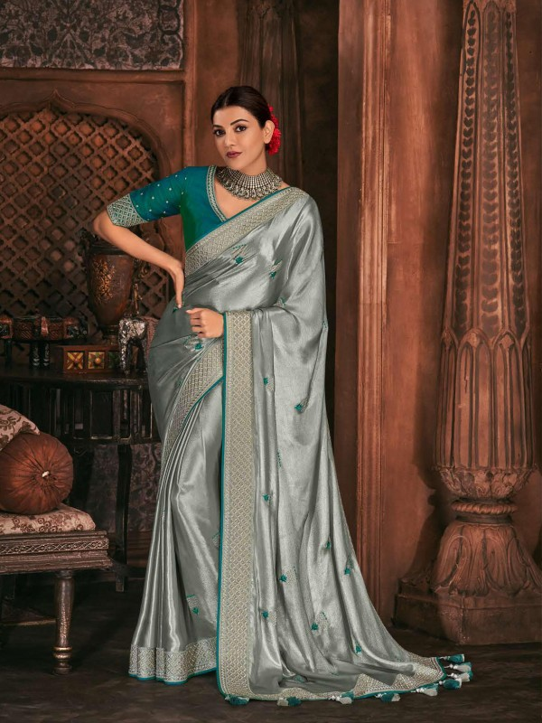 Metallic Silk Party Wear Saree In Grey Color WIth Embroidery Work