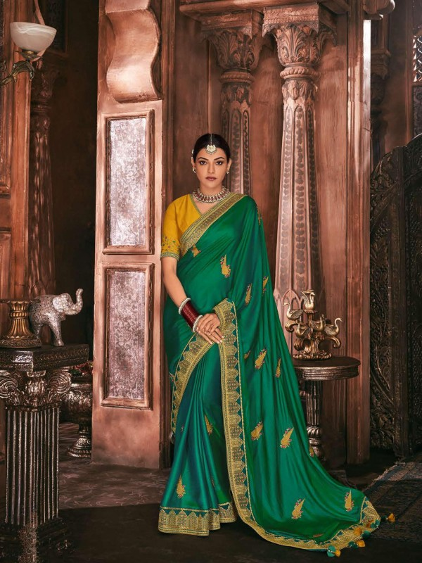 Metallic Silk Party Wear Saree In Green Color WIth Embroidery Work