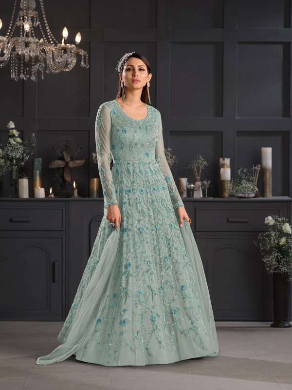 Butterfly Net Fabrics Party Wear Gown In Grey  Color With Embroidery Work