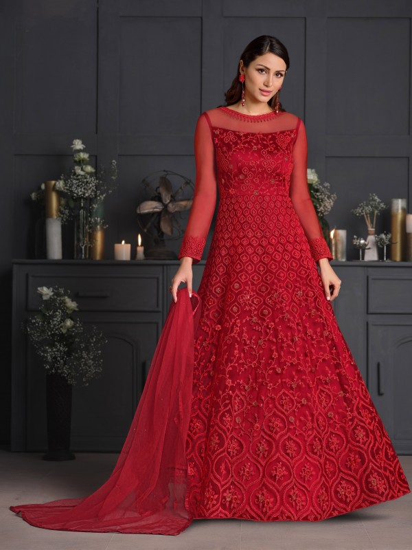 Butterfly Net Fabrics Party Wear Gown In Red Color With Embroidery Work