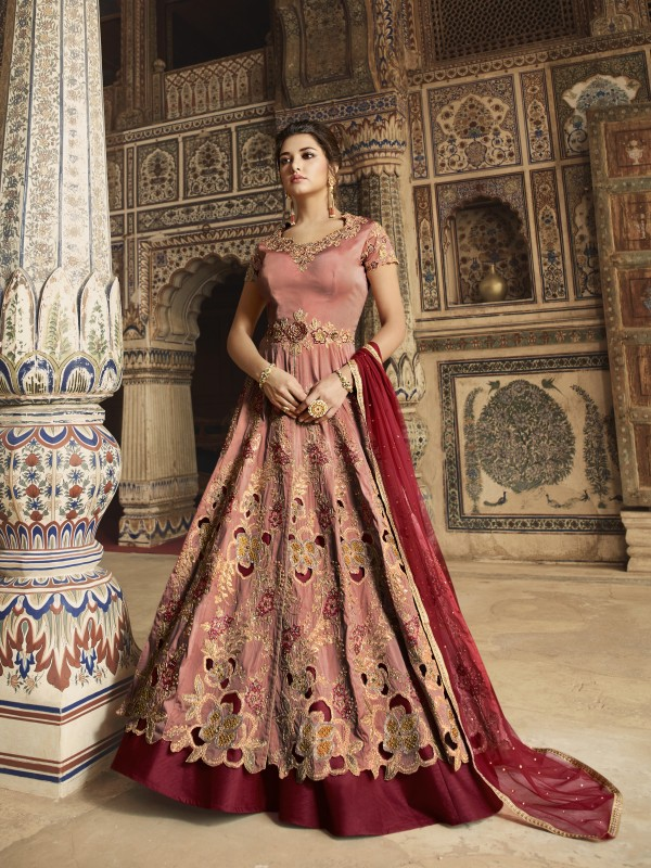 Cambridge Silk Wedding Wear Gown In Maroon With Embroidery & Crystals Stone Work