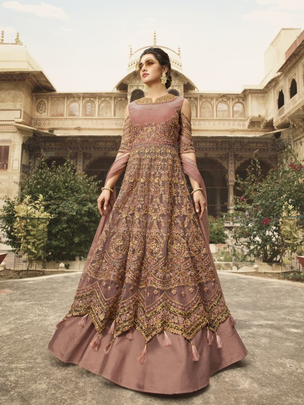 Soft Premium Net Wedding Wear Gown In Pink With Embroidery & Crystals Stone Work