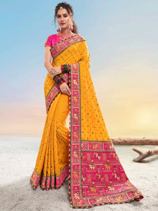 Pure Satin Party Wear Saree In Mustard Color With Embroidery work