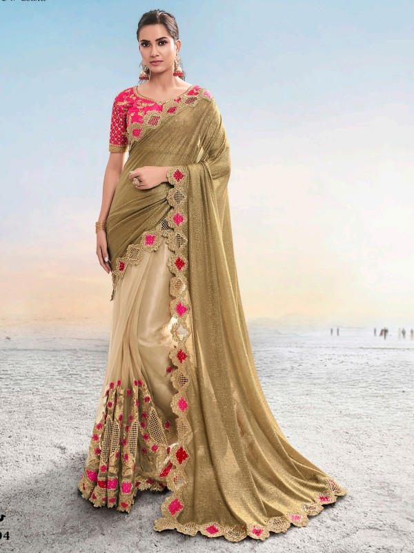 Pure Imported Fabrics Party Wear Saree In Gold Color With Embroidery work