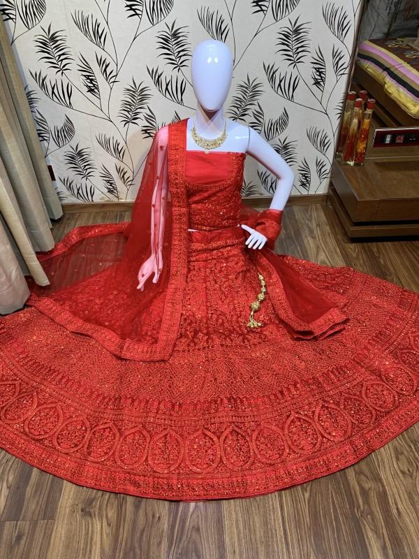 Soft Premium Net Wedding Wear Lehenga In Red With Luckhnowi Work & Stone Work