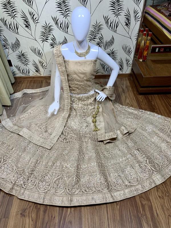 Soft Premium Net Wedding Wear Lehenga In Light Brown With Luckhnowi Work & Stone Work