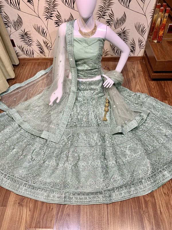 Soft Premium Net Wedding Wear Lehenga In C.Green With Luckhnowi Work & Stone Work