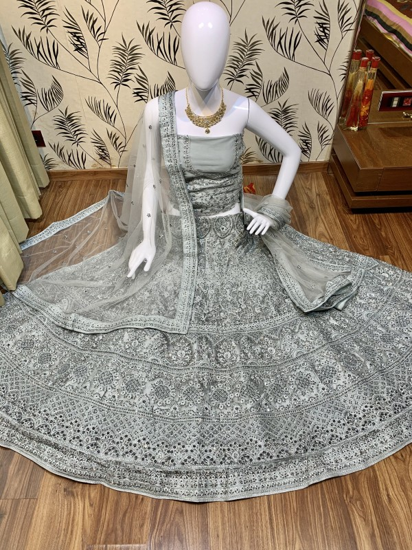 Soft Premium Net Wedding Wear Lehenga In Grey  With Luckhnowi Work & Stone Work