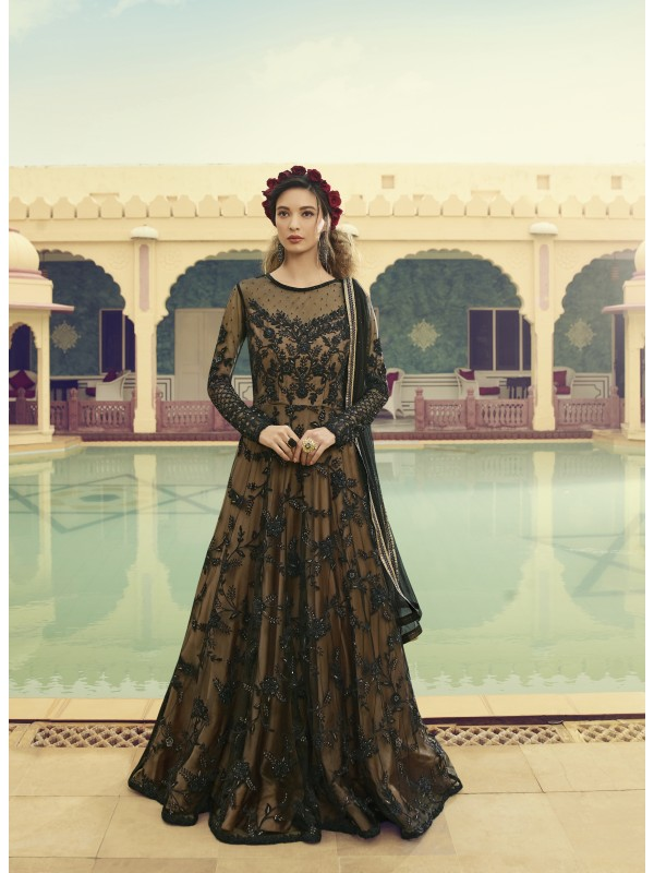 Soft Pure Butterfly Net Wedding Wear Gown  In Black With Embroidery Work & Stone Work