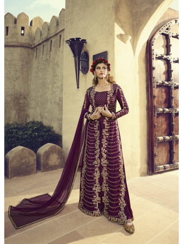 Soft Model Silk Wedding Wear Gown In Magenta With Embroidery Work & Stone Work