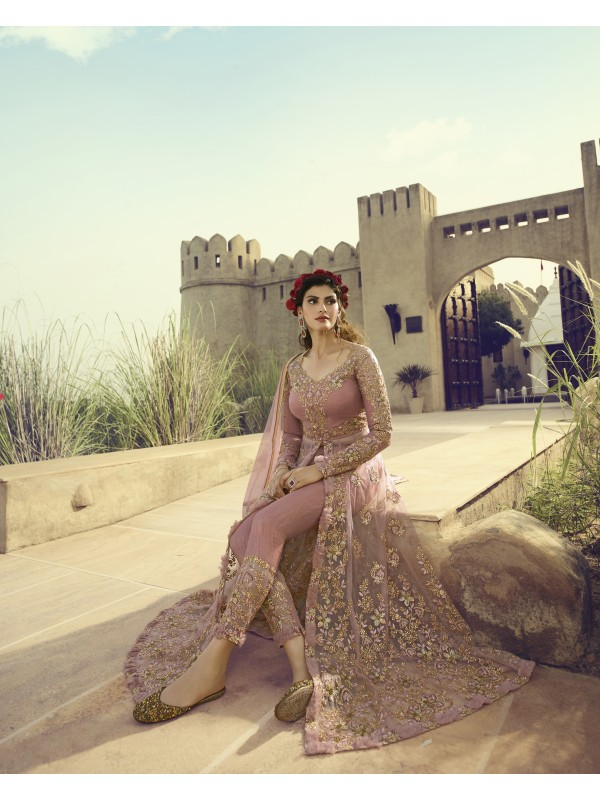 Soft Pure Butterfly Net Wedding Wear Gown In Light Pink With Embroidery Work & Stone Work