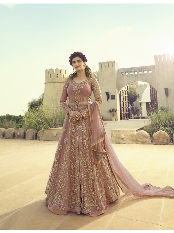 Soft Pure Butterfly Net Party Wear Lehenga In Light Pink With Embroidery Work & Stone Work