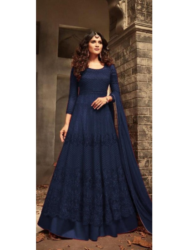 Soft Premium Net Wedding Wear Gown In Blue With Embroidery Work & Khatli Work