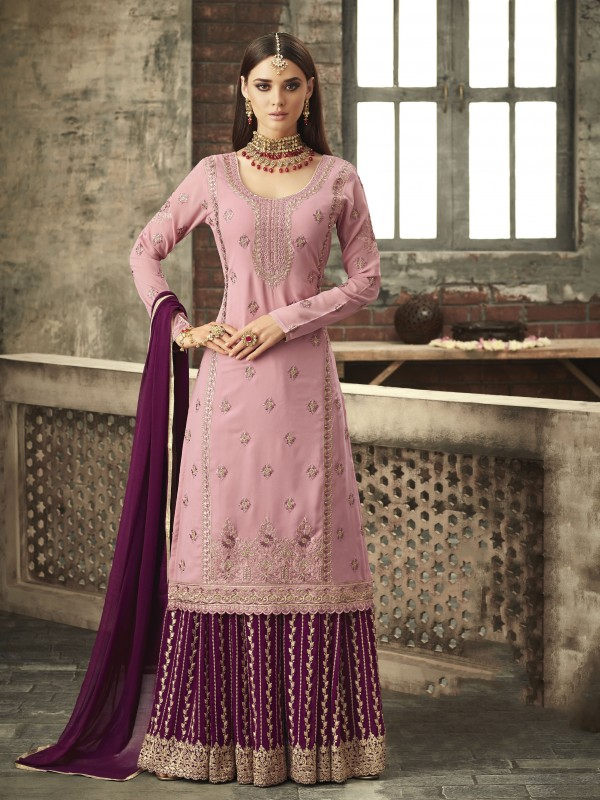 Georgette Sharara in Pink & Rani with Thread &Stone  work