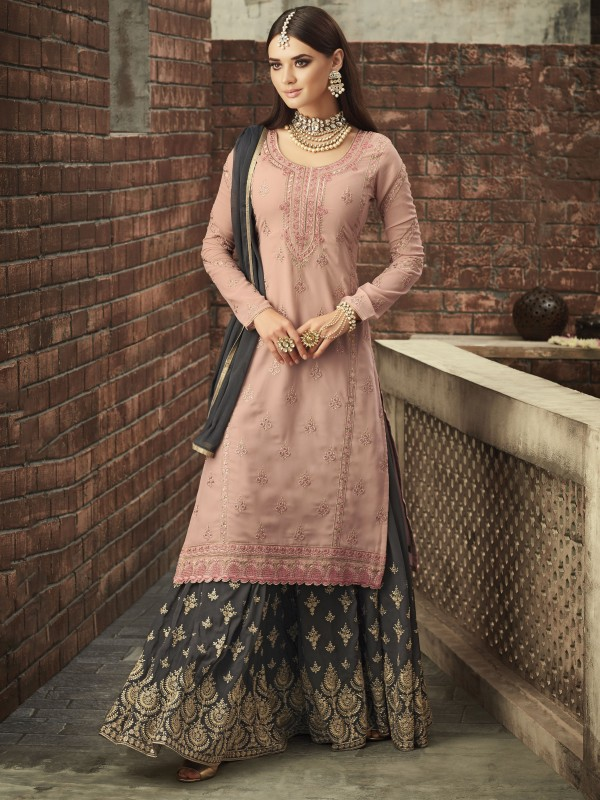 Georgette Sharara in Pink & Grey With Thread & Stone  work