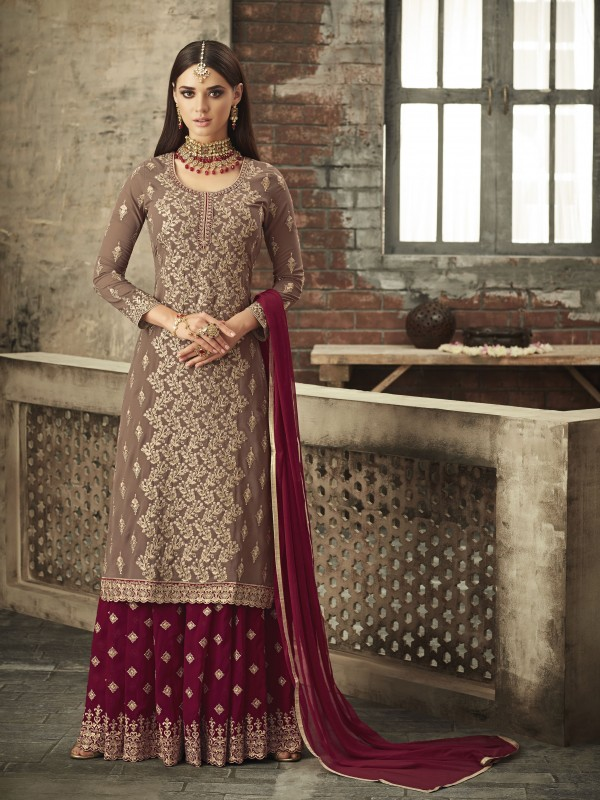 Georgette Sharara In Brown & Red With Thread & Stone Work