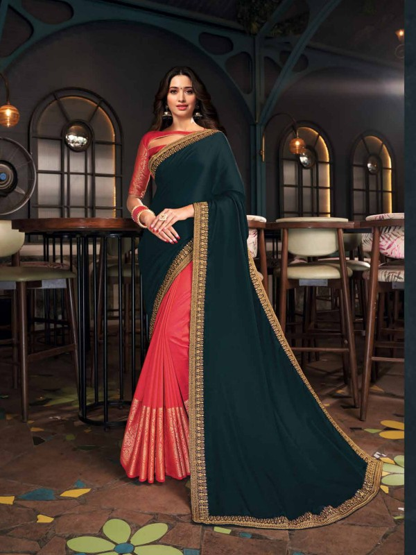 Luxury Silk Party Wear Saree In Teal Green & Pink  WIth Embroidery Work