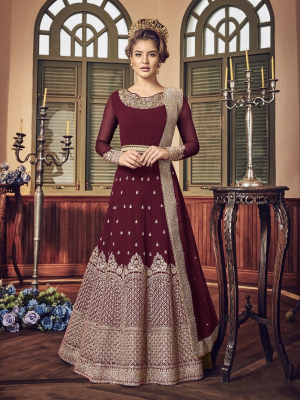 Georgette Party Wear Gown In Maroon With Embroidered Work