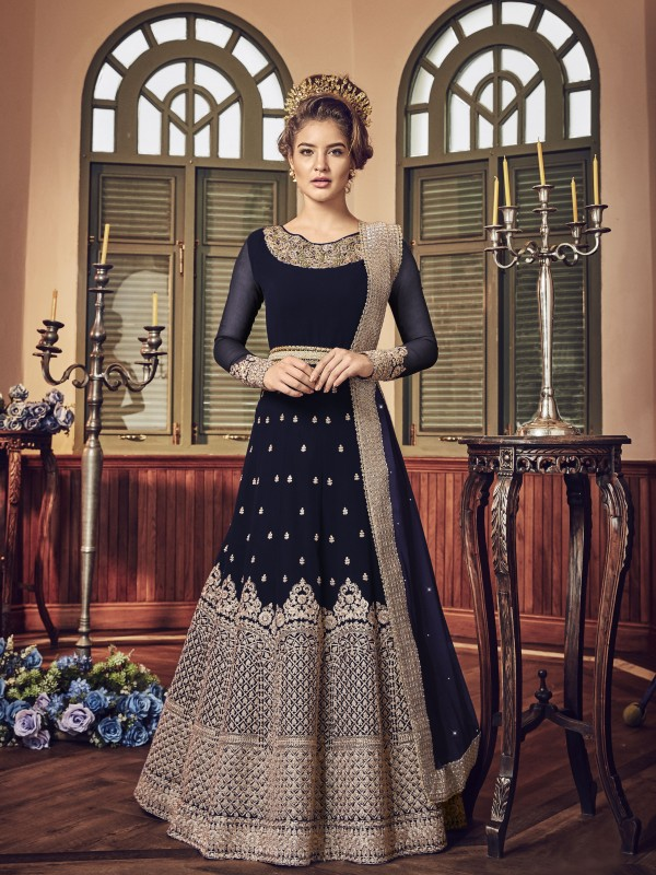 Georgette Party Wear Gown  in Neavy Blue  with Embroidered work