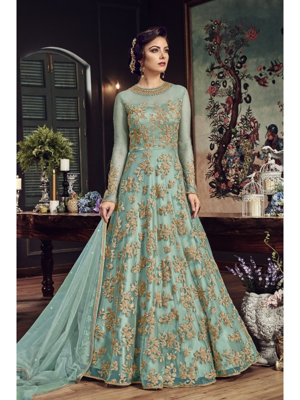 Net Party Wear Gown In Rama With Zari With Stone work