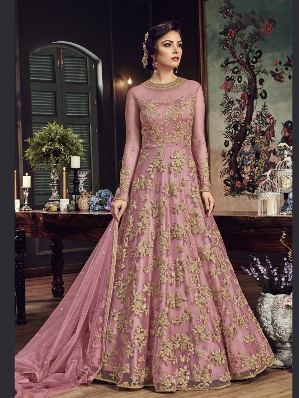 Net Party Wear Gown In Pink With Zari With Stone Work