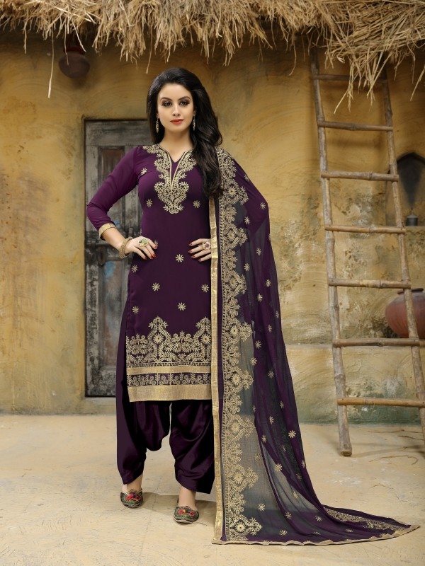 Faux Geogette Party Wear Salwar Suit In Purple Embroidered Work