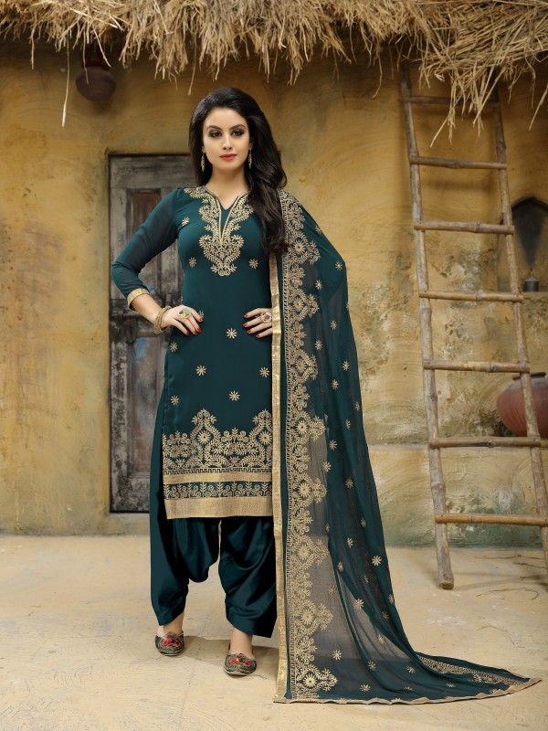 Faux Geogette Party Wear Salwar Suit In Grey  Embroidered Work