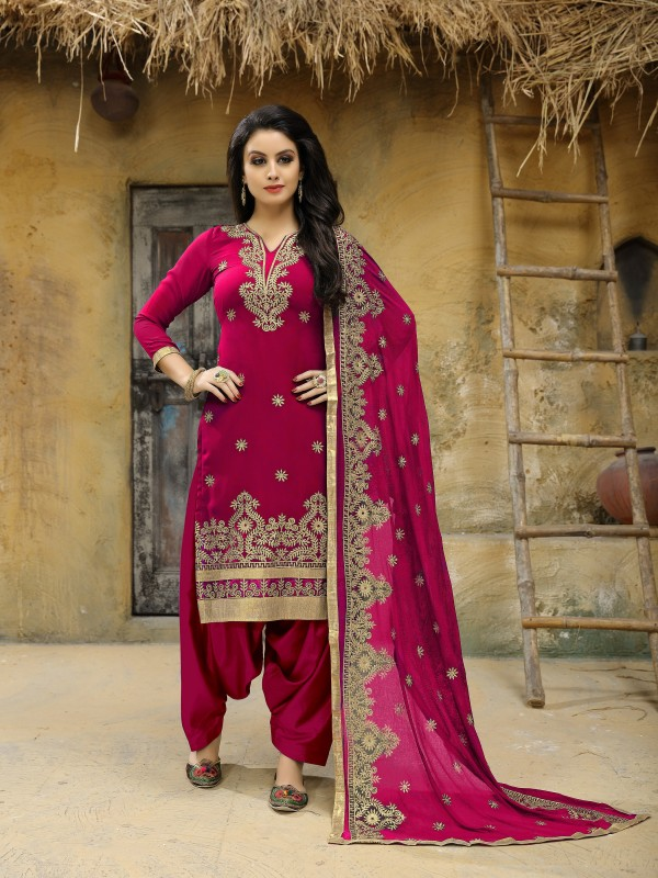 Faux Geogette Party Wear Salwar Suit In Pink  Embroidered Work