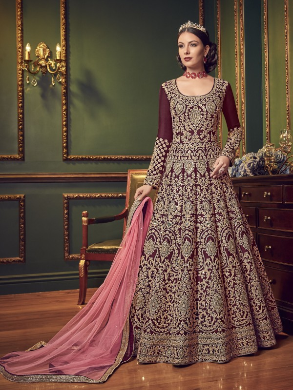 Silk Wedding In Red and Maroon With Embroidery Stone Work