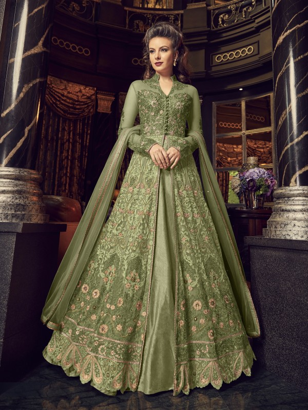 Crystal Stone Work Soft Premium Net Party Wear Lehenga In Green Color