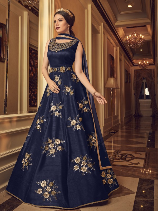 Bangalore Silk Party Wear Gown In Blue With Resham Work