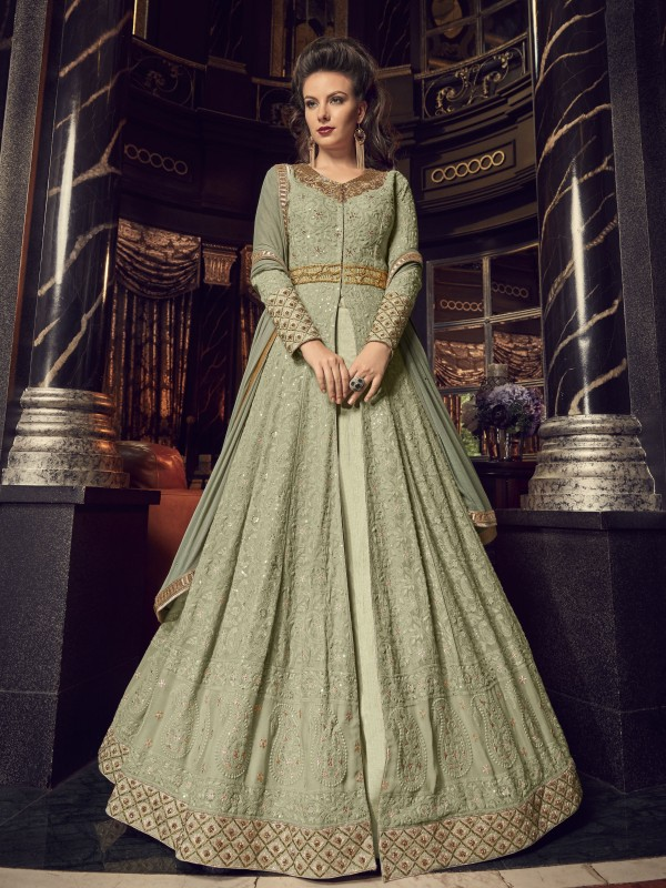Georgette Wedding Wear Gown In Light Green With Sequence Work
