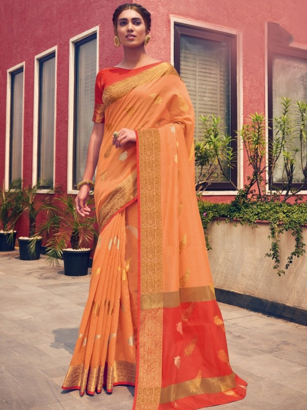 Cotton Silk Banarasi Saree In Orange Color