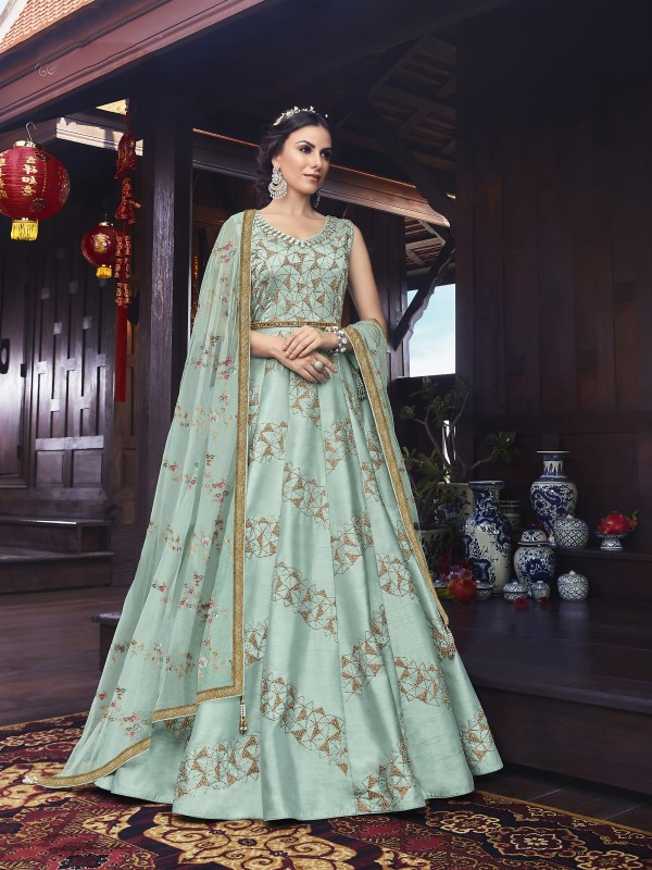 Soft Premium Net Wedding Wear Gown in Sky Blue  with Embroidery & Stone work