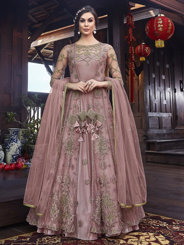 Soft Premium Net Wedding Wear Gown in Pink with Embroidery & Stone work