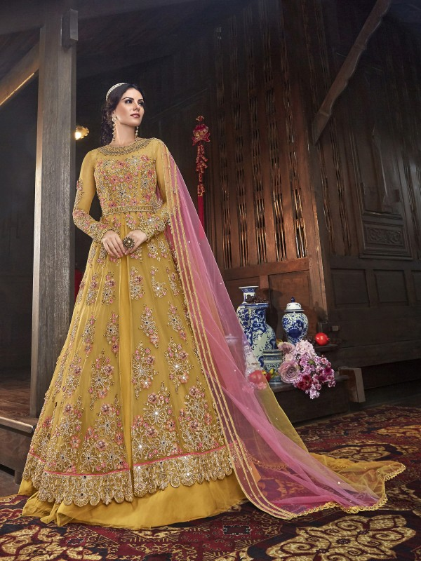 Soft Premium Net Wedding Wear Gown in Yellow with Embroidery & Stone work