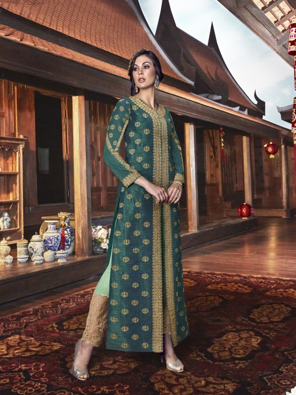 Handloom Tusser SIlk Wedding wear Gown in Green with Embroidery & Stone work