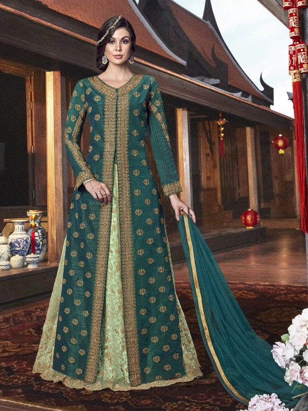 Handloom Tusser SIlk Party wear Lehenga in Green with Embroidery & Stone work