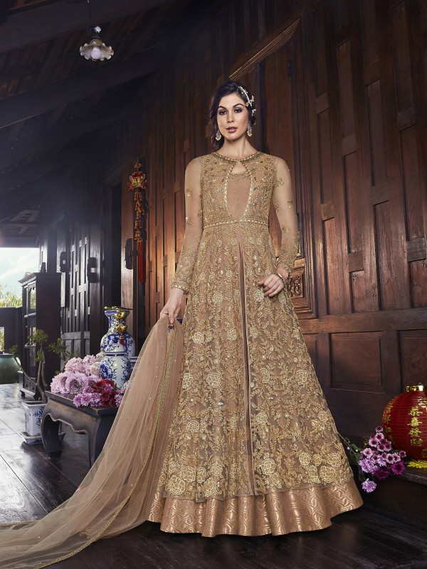 Soft Premium Net Wedding wear Gown in Golden with Embroidery & Stone work