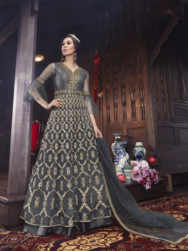 Soft Premium Net Wedding wear Gown in Grey with Embroidery & Stone work