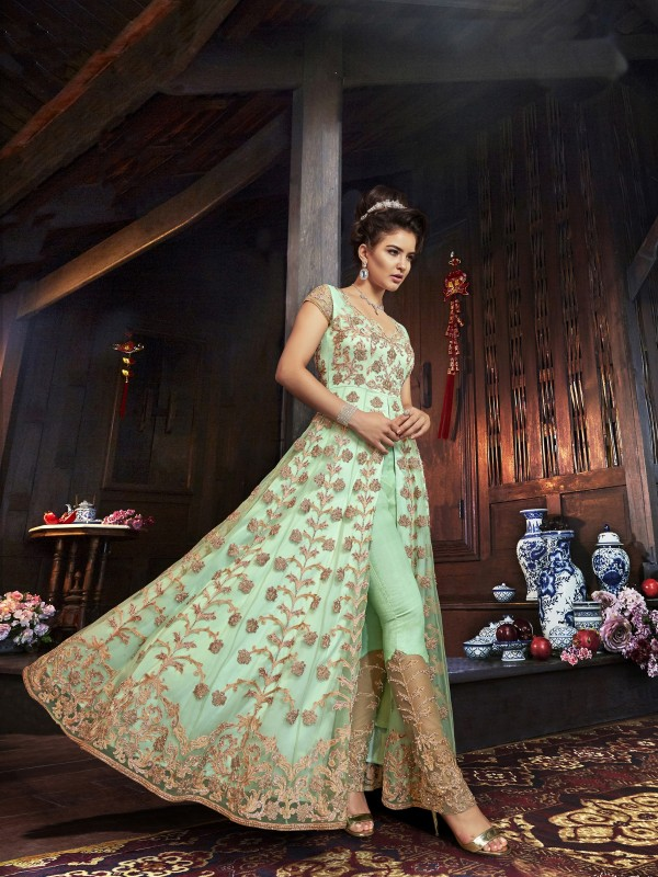 Soft Premium Net Wedding wear Gown in Green with Embroidery & Stone work