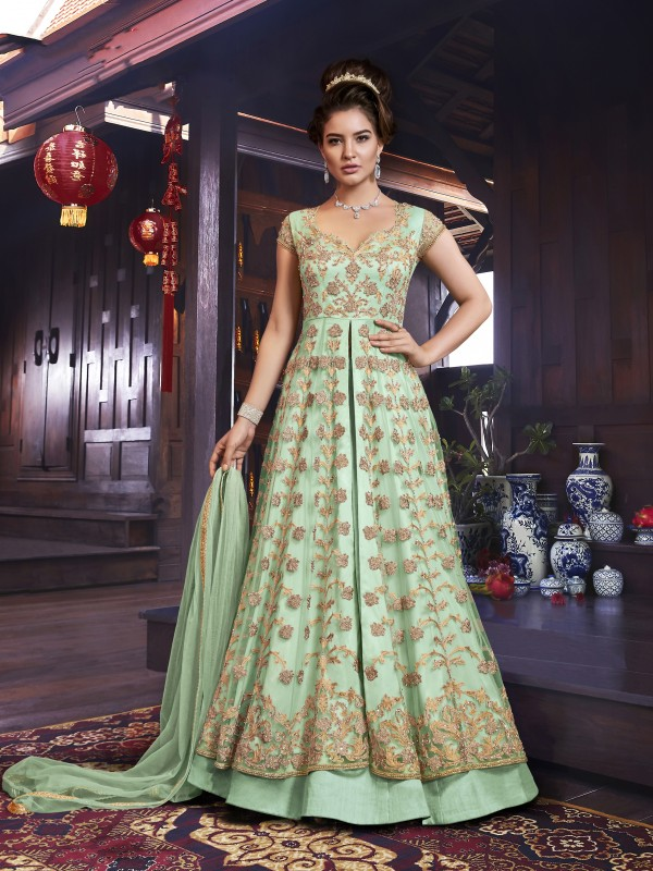 Soft Premium Net Party wear Lehenga in Green with Embroidery & Stone work